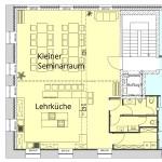 Grundriss kleiner Seminarraum mit angrenzender Küche